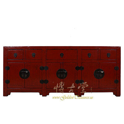 Huge Chinese Antique Red Lacquered Sideboard/Buffet Table 17LP23