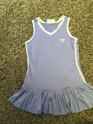 Little Miss Tennis Girls dress Purple And White With Pleated Skirt. Girls 5/6