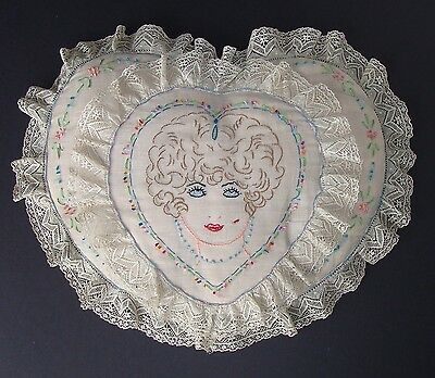 Vintage 1920s Embroidered Flapper Girl & Lace Heart Shape Boudoir Pillow