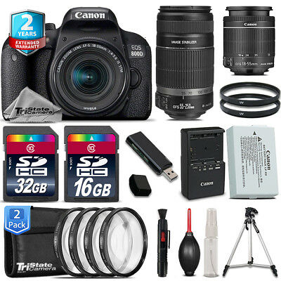 Canon EOS Rebel 800D T7i + 18-55mm IS STM + 55-250mm IS + 4PC Macro - 48GB Kit