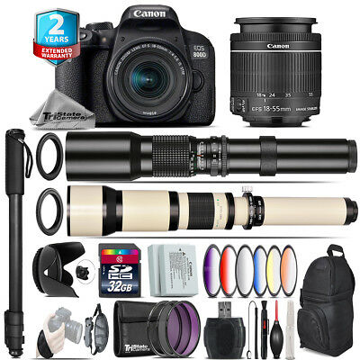 Canon EOS Rebel 800D T7i + 18-55mm IS STM + 9PC Filter + Extra Battery -32GB Kit