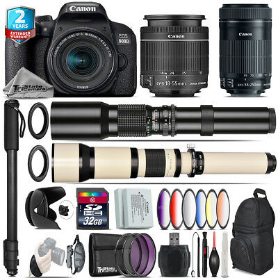 Canon EOS Rebel 800D T7i + 18-55mm IS + 55-250mm IS STM + 9PC Filter - 32GB Kit