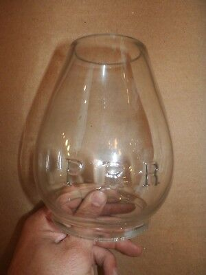 Vintage Antique Clear GLass PRR PA RR Railroad Lantern Light Lamp Shade Globe
