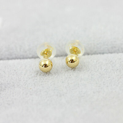 New Fashion Pure 18K Yellow Gold Earrings women's Elegant 4mm Bead Earrings