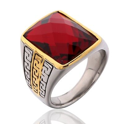 Mens Silver/Gold Stainless Steel Signet Red Garnet Celtic Wedding Band Rings