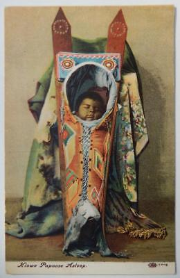 Antique Original Vintage Native American Indian Kiowa Papoose Novelty Postcard