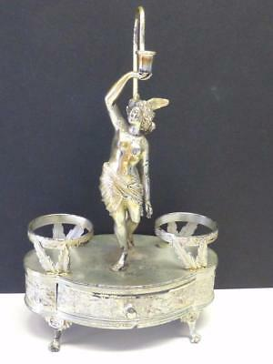 Victorian Winged Victory FIGURAL Aurora Silverplate Candlestick Bottle Holder
