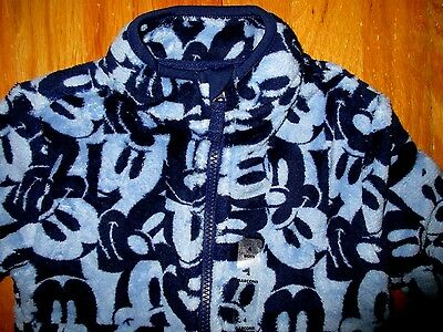 Disney Store Blue Print Mickey Mouse Fleece Jacket Coat for Kids Size 2 or 3