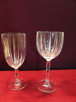 """Waterford Marquis """"omega"""" Cut Crystal 4 All Purpose Wines + 1 Ice Tea Glass"""