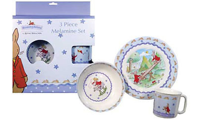 Bunnykins Royal Daulton Melamine 3pc Gift Set Bowl Plate Cup Shinning Blue Star