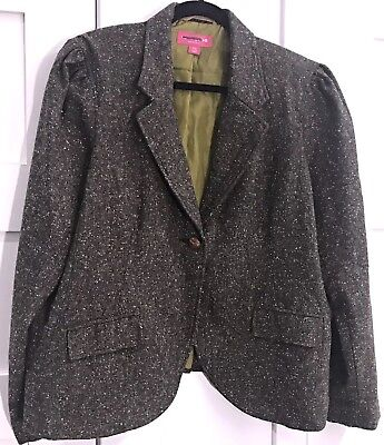 Liz Lange Maternity XXL Elbow Patch Brown Tweed Blazer Green Lining