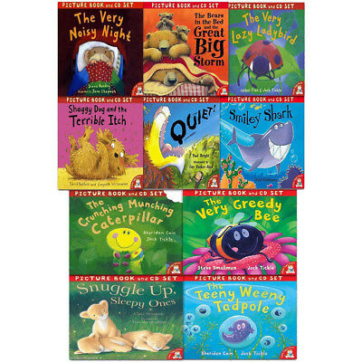 Crunching Munching Caterpillar & Other Stories 10 Books Collection Set & CDs New