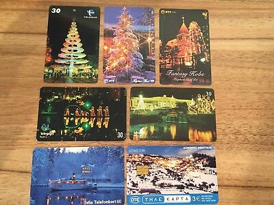 Collectable Phonecards. 7 Xmas Lights  Phonecards