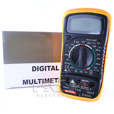 Multimetro Polimetro VOLTIMETRO Digital XL830 L Tester Goma LED m26