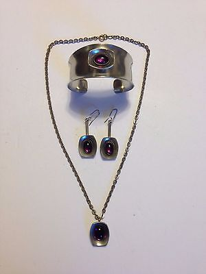Vintage Modernist Denmark Jorgen Jensen Bracelet Necklace Earrings Pewter Purple