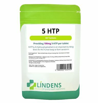 5-HTP 100mg 60 Tablets Anxiety Appetite Depression Insomnia Serotonin Lindens