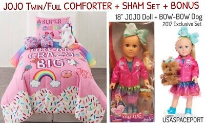 "JOJO Siwa Rainbow Twin/Single COMFORTER+SHEETS+SHAM Set +18"" My Life as DOLL Lot"