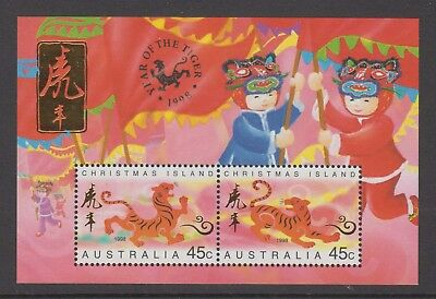 Christmas Island 1998 Year of the Tiger Mint unhinged mini sheet