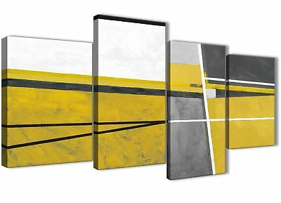 Large Mustard Yellow Grey Painting Abstract Bedroom Canvas Decor - 4388 - 130cm