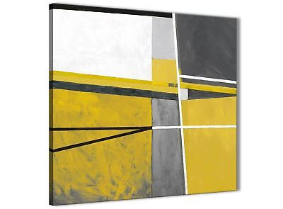 Mustard Yellow Grey Painting Kitchen Canvas Wall Art - Abstract 1s388s - 49cm