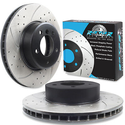FRONT DRILLED GROOVED 324mm BRAKE DISCS FOR BMW E60 E61 530 523 520d E63 E64