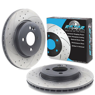 FRONT DRILLED GROOVED 280mm BRAKE DISCS FOR MINI R56 R58 COOPER S D ONE 1.6 06+