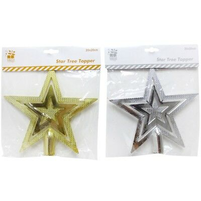 20 x 20cm Assorted Colours Star Tree Topper Christmas Decoration Gold Silver