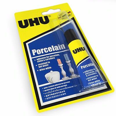 UHU Porcelain Adhesive – Dries White - Water Resistant – 13ml