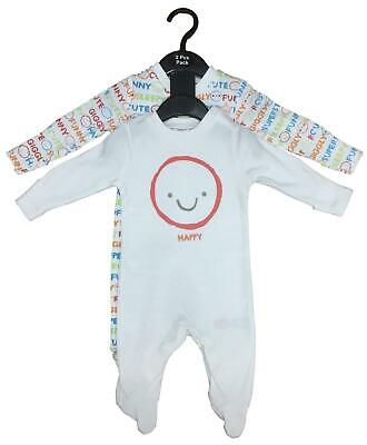 Baby Sleepsuits 2 Pack Ex Uk Store Boys Girls Babygrow Cute Funny Sleepy Happy