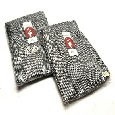 """(2) NEW Chef Works NBCP-000-7XL Checkered Baggy Essential Chef Pants """"7XL"""""""