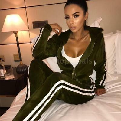 Sexy Women Hoodie Sweat Suit Jacket and Pants Set Velvet Tracksuit Two-Piece