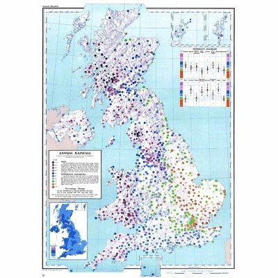 BRITISH ISLES Annual Rainfall in Inches Between 1916-50 - Vintage Map 1963