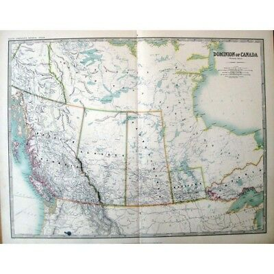 CANADA West; Manitoba, Alberta, Saskatchewan - Antique Map 1910 by Johnston