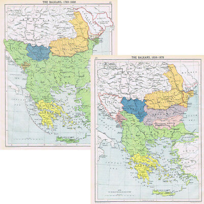 BALKAN Region 1789-1856 and from 1856-1878 - Double sided Vintage Map 1922