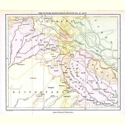 INDIA The Punjab and North West Provinces - Antique Map 1880