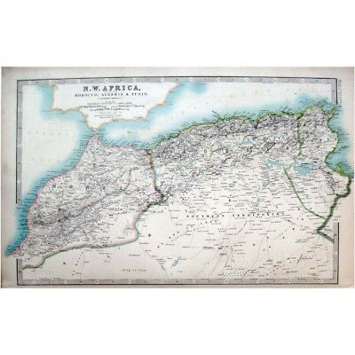 North West AFRICA MOROCCO,ALGERIA & TUNISIA - Antique Map 1910 by Johnston