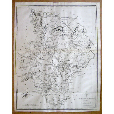 HUNTINGDONSHIRE - Antique Map 1805 by John Cary From the Best Authorities