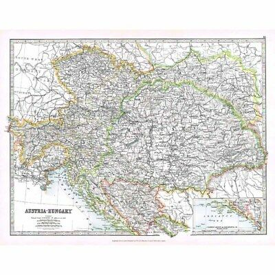 Antique Map 1914 - Austria and Hungary by W & AK Johnston