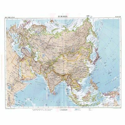 EURASIA Lambert Azimuthal Equal-Area Projection -Vintage Map 1956 by Bartholomew