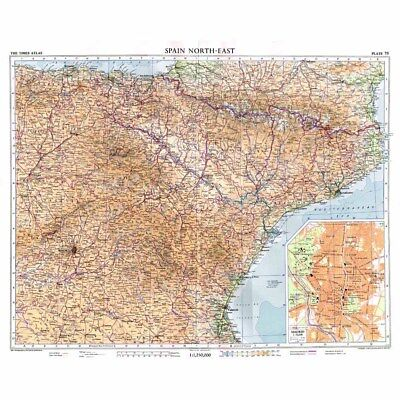 SPAIN (NE) Conic Projection Vintage Map 1956 by Bartholomew; Inset of Madrid
