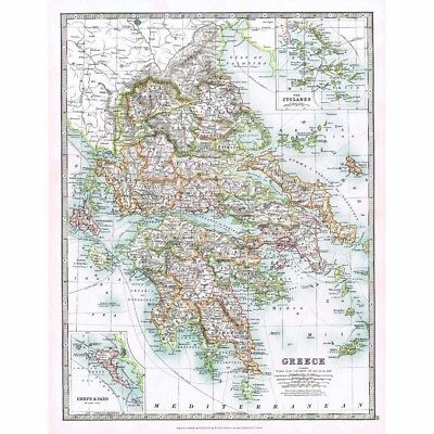 Antique Map 1914 - Greece; insets of Cyclades, Corfu and Paxo by W & AK Johnston