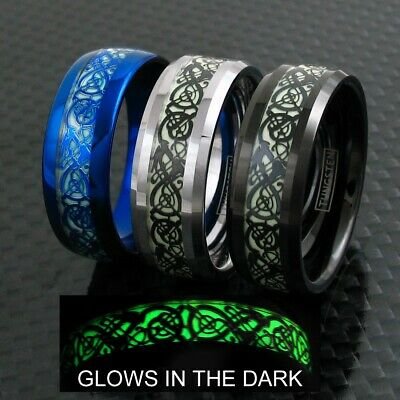 8mm Tungsten Men's Ring Celtic Dragon *Glow in the Dark* Band Blue Silver Black