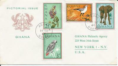 Ghana 1964  Pictorial Issue Parrot Elephant Bird Accra to New York FDI FDC Cover