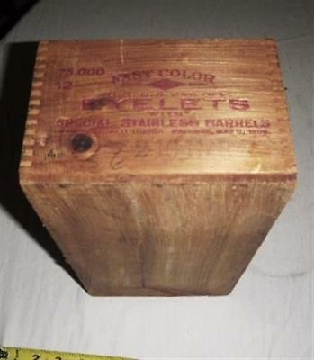 Vintage Antique Wooden Box for Fast Color Eyelets Patents May 9, 1905 ~