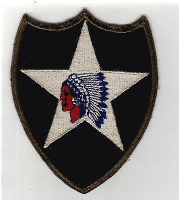 WW 2 US Army 2nd Infantry Division OD Border Greenback Patch Inv# S476