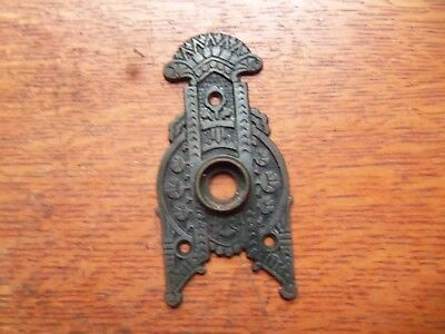 Antique Fancy Ornate Victorian Eastlake Triangular Iron Doorplate c1885