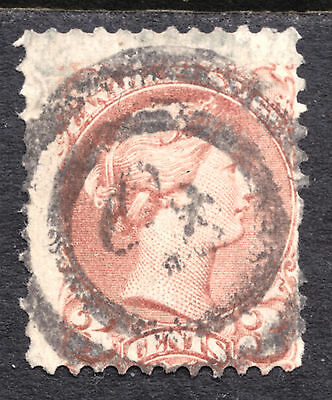 CANADA #37a 3c ROSE,1870-93 SMALL QUEEN, VG, 2-RING40 CORNWALL
