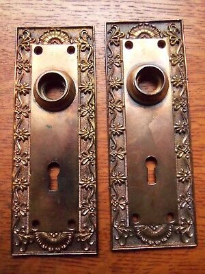 Two Antique Fancy Bronze Victorian Door Plates Doorplates c1885