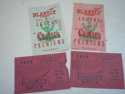 Vintage BLAKELY Cactus Gas Station Coupons (2) & Raffle Ticket for '51 Ford (2)