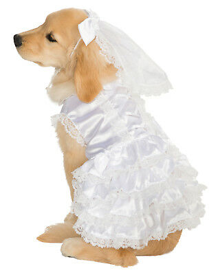 Bride Pet Dog Cat White Wedding Gown Dress Halloween Costume